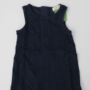 Kate Spade Sleeveless Navy Heart Lace Shift Dress